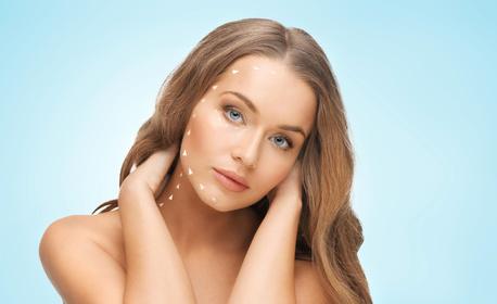 RF лифтинг на лице, двойна брадичка и шия, плюс лифтинг маска 24К злато - 1, 5 или 10 процедури