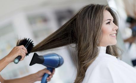 Подстригване или оформяне на прическа със сешоар, плюс ултразвуково подхранване с кератинова маска