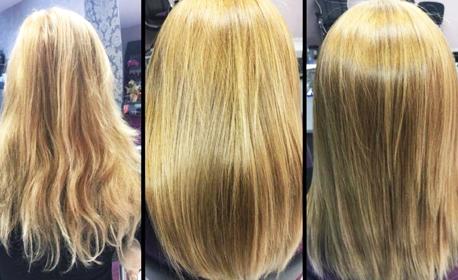 Възстановяваща кератинова терапия и ламиниране на коса с преса Joico, плюс оформяне