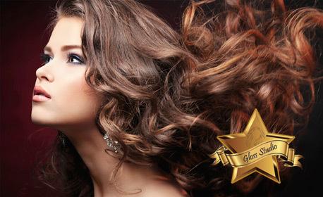 Боядисване на коса тип балеаж, плюс оформяне със сешоар