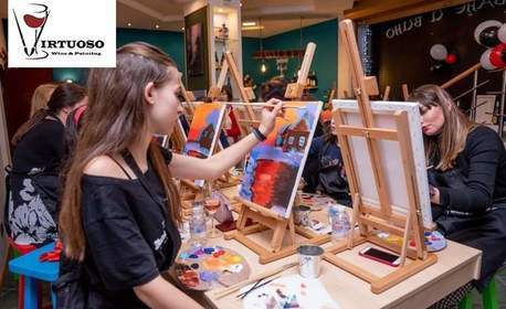 3 часа рисуване под напътствията на професионален художник, плюс чаша вино и вода