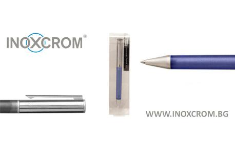 Химикалка Arena от Inoxcrom, с лазерно гравиране до 20 символа и прозрачна кутийка, в цвят по избор