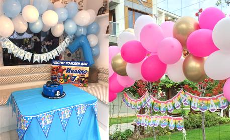 Украса за детски рожден ден с балони и парти колона с микрофони, плюс аранжиране