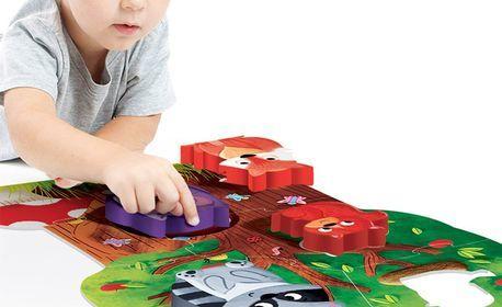 Забавление и обучение по метода Монтесори! Дървен пъзел с 11 части за деца на 2 - 4г