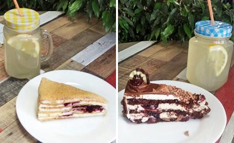 Парче торта и домашна лимонада, по избор, плюс чаша ароматно кафе еспресо