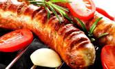 1.17кг зимно плато за вкъщи - конски и телешки кюфтенца, наденички, свинско месце, задушени зеленчуци и разядки