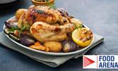 Цяло печено пиле с подправки и бяло вино, плюс печени билкови картофки на фурна и дзадзики