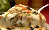 Кулинарни изкушения - голяма пица и свежа салата, по избор