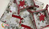 Коледен комплект с панер за хляб, коледен чорап и по избор - 6 броя калъфи за прибори или покривка за маса