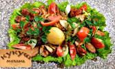 1200гр пилешко мешано плато с филе, крилца, пържола, шишче, наденички, дробче и зеленчуци