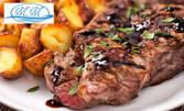 Апетитно барбекю плато с ребърца, кюфтенца, свинско бон филе и печен картоф