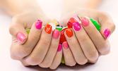 UV гел върху естествен нокът или ноктопластика с изграждане, плюс гел лак и 2 декорации