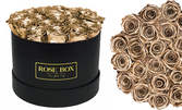 Букет от 25 златни или сребърни рози от ароматен сапун в елегантна черна кутия