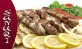 Салата Камембер със смокини плюс пилешко филе с ризото, или Салата с пармезан плюс свински шишчета