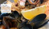 1кг морско хапване под тепетата! Пържен сафрид, панирани калмари и миди по моряшки