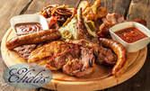 1.5кг апетитно плато със свинско и пилешко месце на скара, пърленка и разядка