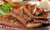 1700гр апетитно плато за компания - телешки кюфтенца, свински врат, пилешко филе, крилца и картофки соте