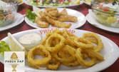Морско ястие или риба, плюс салата, по избор