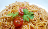 Хапни за 99ст - спагети Болонезе или ризото със зеленчуци