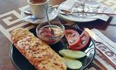 Кафе или билков чай, мини принцеса с шунка и кашкавал и шоколадов крем Noar