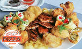 1.25кг плато! Пилешки крилца, гриловани тиквички със сирена, свински врат, картофки, хрупкава моцарела, сос и брускети