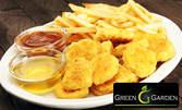 1кг хапване на Гребната база! Плато с хрупкави пилешки хапки, топени сиренца, кашкавалени хапчици, картофки и сос