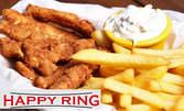 Плато с панирани пилешки филенца със сусам и чеснов сос, топени сиренца с корнфлейкс и домашно сладко, плюс картофки