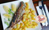 Печена пъстърва с картофки соте или месно плато на барбекю