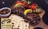 1950гр плато за компания! Свински вратни пържоли, селски картофки, пърленка и сосче