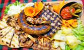 1.25кг плато със свински каренца, плескавица, суджук, пилешко шишче, пържола от бутче, печени картофки и домашна лютеница