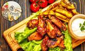 Цял килограм апетитно плато! Пилешки крилца на тиган и печени картофки по селски