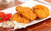 1.280гр плато! Пилешки хапки пане, пилешки флейки, топено сирене в корнфлейкс, спаначени кюфтенца и пълнени гъбки