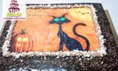 Фото торта с 10 или с 20 парчета с крем и блат по избор, с безплатна доставка в рамките на града