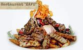 1.1кг плато сръбска скара! Ущипци, кебапчета, свински врат и пържени картофки