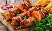 Пилешко филе с моцарела или шишчета на скара с гарнитура, плюс салата и отлежала ракия