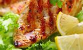 1750гр вкусно плато! Хапни си пилешка пържола, крилца, болярски хапки, бачковски картофи и млечен сос