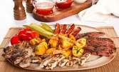 1кг Юнашко мезе на жар! Пилешко и свинско месце, наденица, зеленчуци и пържени картофки