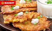 Вкусно хапване за вкъщи! 3 броя картофени кюфтета със сирене и салата Снежанка