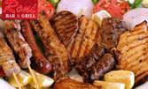 Апетитно месно плато с кебапчета, кюфтенца и шишчета, плюс четворна порция картофки