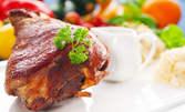 1100гр сач - свински джолан с манатарки на фурна и печени картофки, плюс пърленка на скара