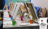 Рисуване с акрилни бои върху платно с напътствия от художник, плюс чаша вино или безалкохолно