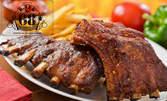 Билкови ребърца на пещ с барбекю сос, плюс домашни пържени картофки