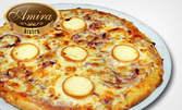 Салата, голяма пица и палачинка