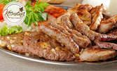 500гр мешана скара със свинска пържола, свински дроб, кюфте и кебапче