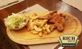 Бейби пиленце на жар, млечно телешко печено или филе от ципура на жар, плюс гарнитура