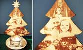 """Свещник """"Елха"""" или """"Ангелче"""" със снимка и персонално послание - едностранно или двустранно гравиран"""