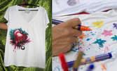 Ръчно рисувана детска тениска с мотив и послание по избор на клиента