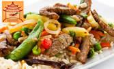 Китайска храна за ценители - ориз или спагети по избор, плюс 2 десерта