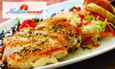 Пилешко филе в хрупкава коричка със зеленчуково ризото, или лимоново пиле с броколи, плюс крем брюле