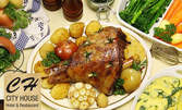 2кг плато със свински джолани, домашни билкови картофки, чеснова пърленка и люти чушлета